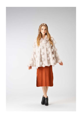 Cashmere mink fox cape