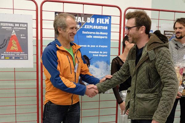 """Le Cairn d'Or pour Nicolas Alliot. Pour son beau film """"Blutch"""". Autour des aventures Himalayenne en parapente de Jean-Yves Fredriksen."""