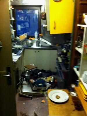 intérieur de la cuisine suite aux chocs