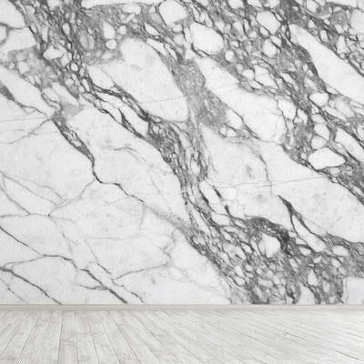Balto marmuro siena su ryškiomis pilkomis gyslomis