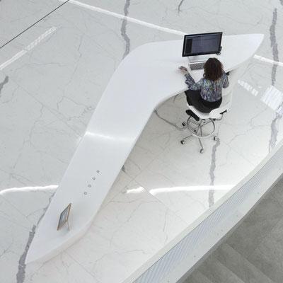Verslo centro registratūra, pagaminta iš akrilinio akmens Corian / gamintojas: Gforma