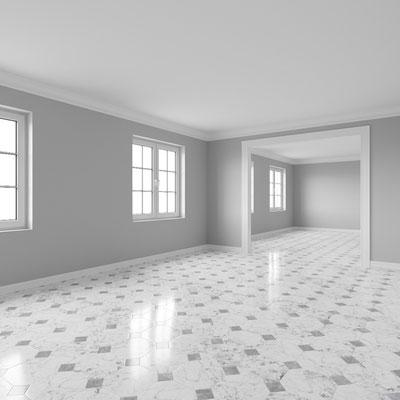 Baltos marmurinės grindys