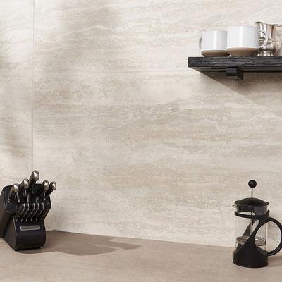 Virtuvės sienelė iš natūralaus travertino akmens