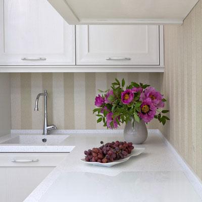 Virtuvės stalviršis su borteliu ir įmontuota plautuve iš akrilinio akmens / gamintojas: Gforma