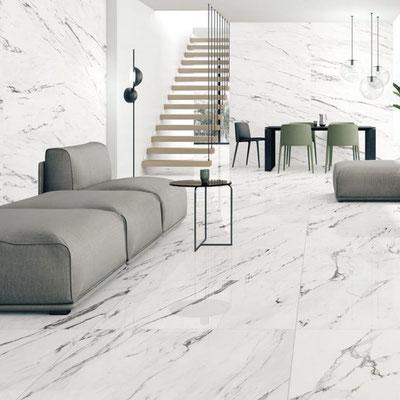 Balto marmuro plokštėmis išklotos grindys ir sienos