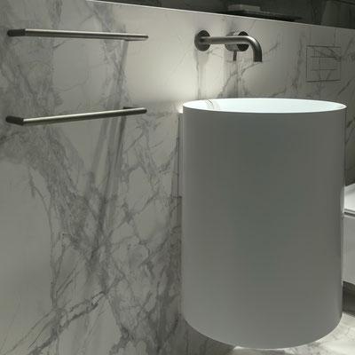 Apvalus pakabinamas vonios praustuvas iš akrilinio akmens