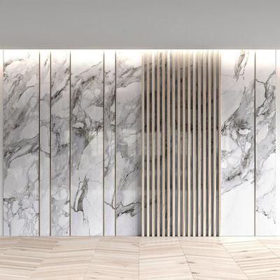 Balta marmurinė siena su medžio dekoracija