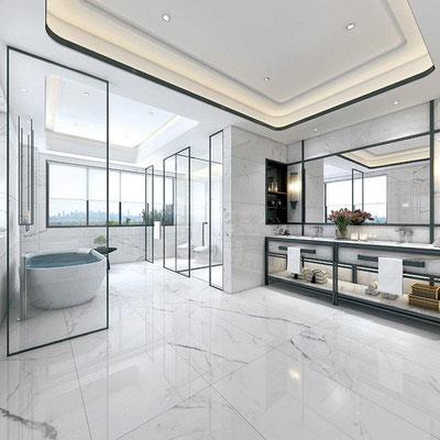 Marmurinės grindys ir sienos vonios kambaryje