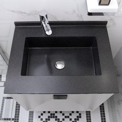 Maža keturkampė vonios spintelė-praustuvas iš juodo akrilinio akmens / gamintojas - Gforma