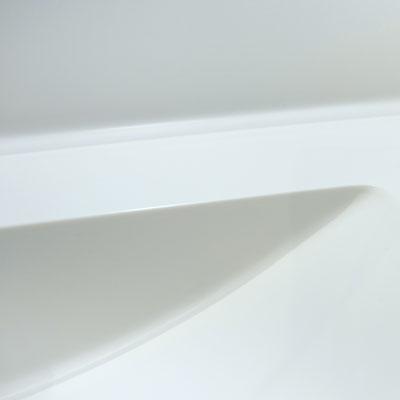 Akrilinio akmens praustuvas, sujungtas su stalviršiu ir sienele be žymės į vientisą baldą / gamintojas: Gforma