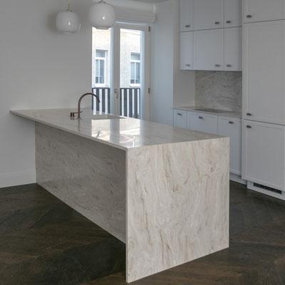 Virtuvės sala iš akrilinio akmens corian