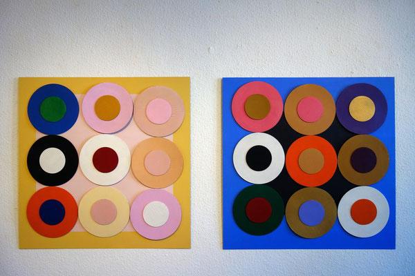 Ellen Roß, Zeitbremse, 2018,  Bilder mit beweglichen Elementen, Acryl, Lack auf Wellpappe, 2 Metallplatten, je 100 x 100 cm