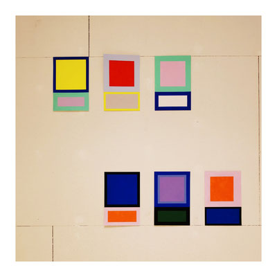 """Ausstellungsansicht, Ellen Roß, Werke aus der Serie """"Im Quadrat"""", Detail"""
