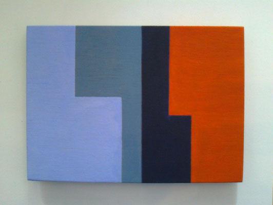 die L´s, hellblau-grau-schwarz-orange, 2018, Vinyl auf Holz, 10 x 15 cm