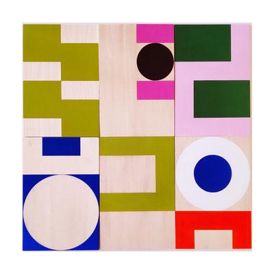 squares&circles n°16, Vinyl auf Holz, 60 x 60 cm