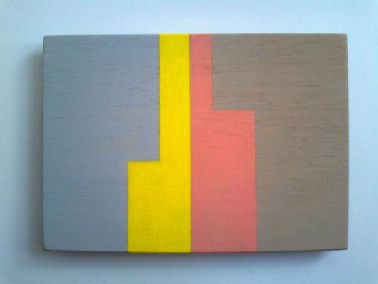 die L´s,2018, Vinyl auf Holz, 10 x 15 cm, grau-gelb-rosa-warmgrau