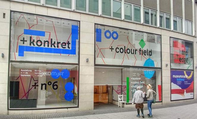 Außenansicht der Ausstellung + konkret + colour field + hard edge +, Museumsnacht Koblenz 2019