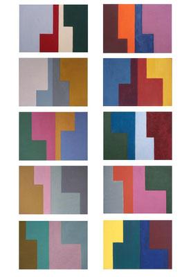 die L´s n°1, 2014, 10teilig, Acryl auf Holz, jede Tafel 10 x 14 cm