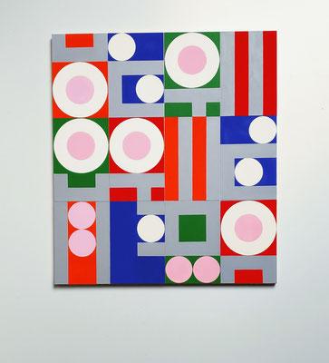 squares + circles (My Tudor Queen), 2020, Vinyl auf Bütten, 6 x 10 x 15 cm, auf Leichtschaumplatte