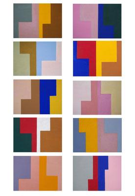 die L´s n°2, 2014, 10teilig, Acryl auf Holz, jede Tafel 10 x 14 cm