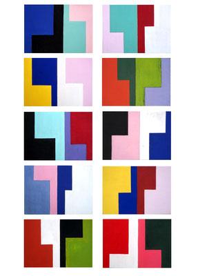 die L´s n°3, 2014, 10teilig, Acryl auf Holz, jede Tafel 10 x 14 cm