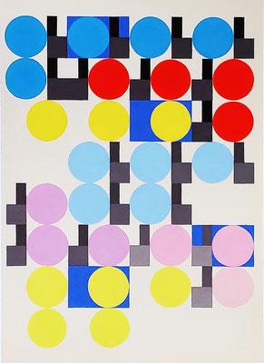 Ellen Roß, squares + circles n°17, 2019, Vinyl auf Bütten, 30 x 40 cm