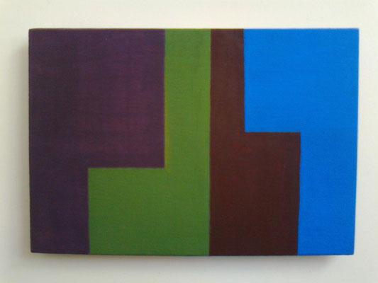 die L´s, 2018, Vinyl auf Holz, 10 x 15 cm, dunkellila-grün-braun-blau