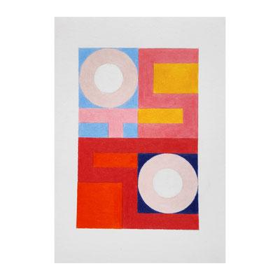 squares + circles, 1/6/19, Buntstift auf Bütten, 15 x 20 cm