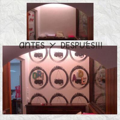 Composición con letras de madera en el Hostal Ori Alde de Ochagavia