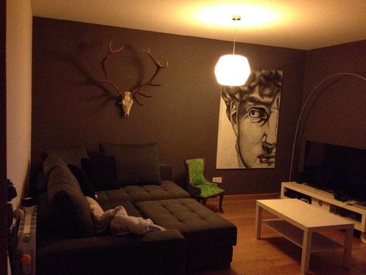 Cabeza de ciervo de catorce puntas en casa de un cliente. Queda genial con ese color de pared !!