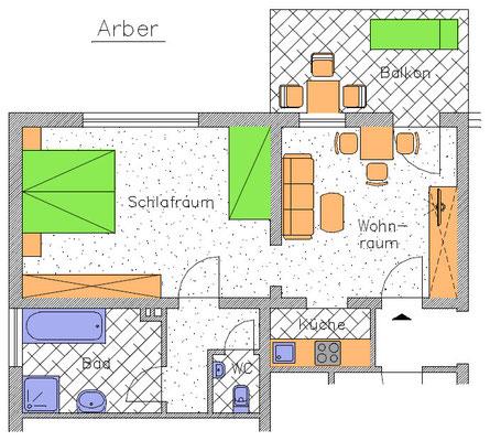 Haus Hildegard***: Ferienwohnung Arber Grundriss