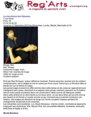 Article de Reg'Arts, à propos d'Autopsie de l'Amour
