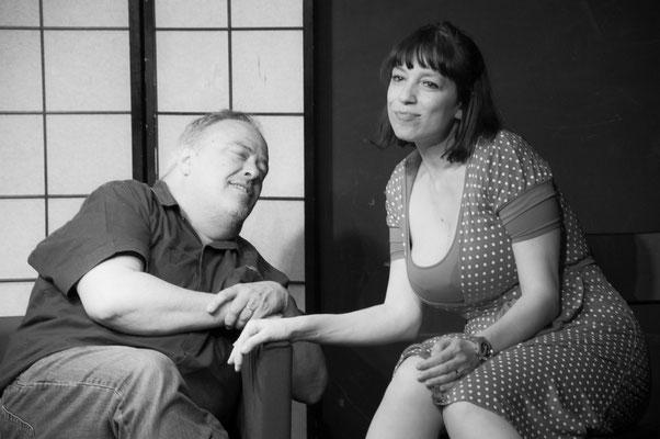 """Rebecca alias Anita et Philippe alias JC, filage technique à La Comédie Saint Michel, """"Les femmes sont des salauds comme les autres"""""""