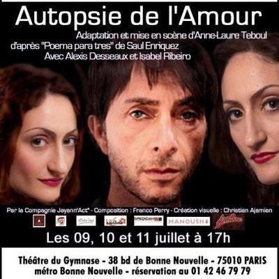 Affiche d'Autopsie de l'Amour pour le Théâtre du Gymnase, Paris 10e.
