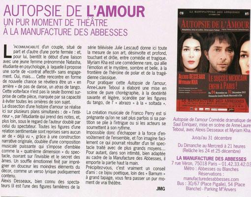 Article de Paris Montmartre, à propos d'Autopsie de l'Amour