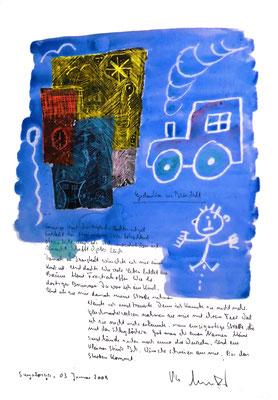 Sprechbild vom 03. Januar 2009. Originalgrafik mit Ölkreide, Aquarell und Bleistifttext auf 200-g-Papier. Größe b 35,0 cm * h 50,0 cm. Werkverzeichnis 3833.
