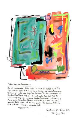 Sprechbild vom 16. Januar 2009. Originalgrafik mit Ölkreide, Aquarell und Bleistifttext auf 200-g-Papier. Größe b 35,0 cm * h 50,0 cm. Werkverzeichnis 3846.