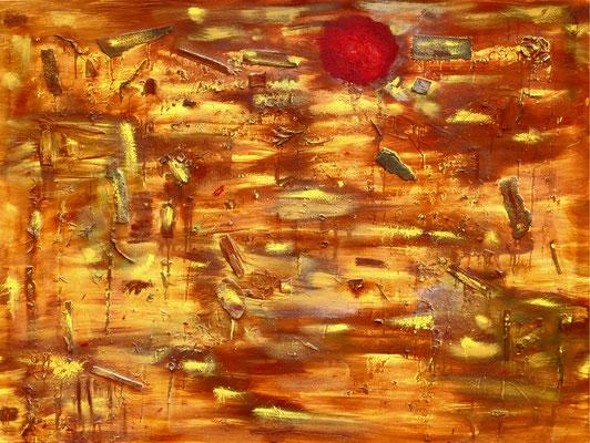 """""""Andalusien im Sommer"""" / Werkverzeichnis 3.589 / datiert 06.2002 / Verschiedene Materialien, Farben und Lacke auf Leinwand / Maße b 149,0 cm * h 119,0 cm"""