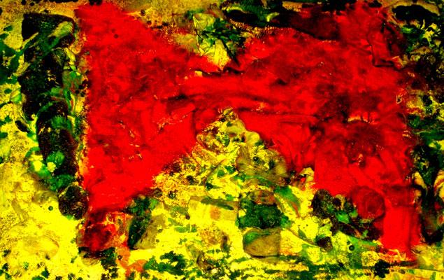 """""""Verlorene Werte"""" / Sayalonga, 25.08.2008 / Industrieabfälle und Farben auf Sperrholz / b 70,0 cm * h 50,0 cm / Nachträge Werkverzeichnis"""