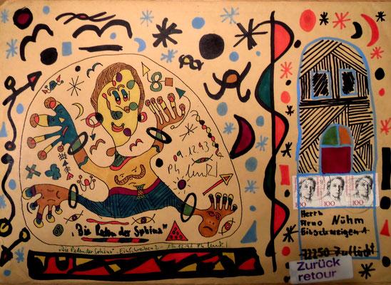 """""""Die Reden der Sphinx"""" Briefkunst: Briefumschlag mit unbek. Inhalt. Gestringen, den 12.12.1993, Werkverzeichnis 375. Malerei mit Filzstift auf braunem Briefumschlag, um ihn zu versenden und eine Retoure zu erzeugen (Herrn Arno Nühm, Eisschweigen 1"""