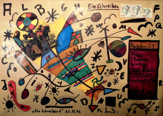 """""""Ein Schreiben 1"""" Briefkunst: Briefumschlag mit unbekanntem Inhalt. Gestringen, den 11.12.1993, Werkverzeichnis 374. Malerei mit Filzstift auf braunem Briefumschlag, um ihn zu versenden an Unbekannt bei mir (Frau Theresa Giehse), zwecks Retoursendung."""