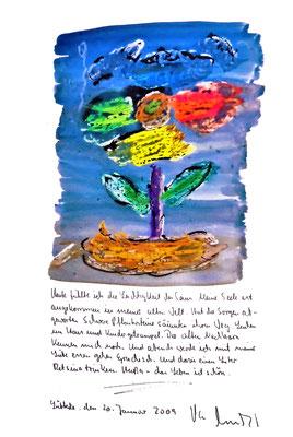 Sprechbild vom 20. Januar 2009. Originalgrafik mit Ölkreide, Aquarell und Bleistifttext auf 200-g-Papier. Größe b 35,0 cm * h 50,0 cm. Werkverzeichnis 3850.