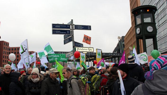 "Demonstranten am Potsdamer Platz ""Wir haben die Agrarindustrie satt"". Foto: Helga Karl"
