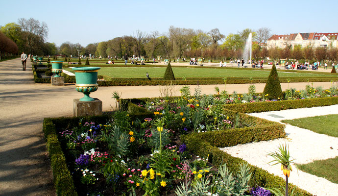 Broderien und Blumenrabatte: Barockgarten im Schlosspark Charlottenburg im Frühling. Foto: Helga Karl