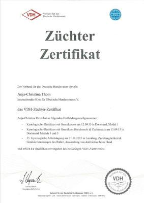 Anjas Züchterzertifikat