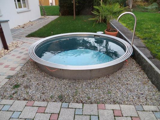 Chromstahl Pool rund