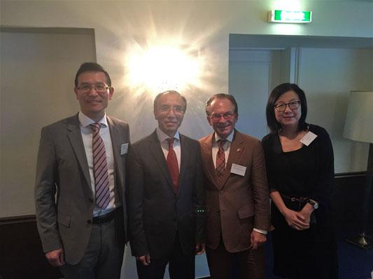 中国大使馆高行乐参赞、李晓驷大使、章格教授、毛巧玲