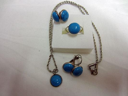blauer Türkis in Edlestahlfassungen