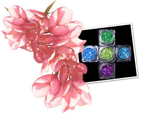 Die Illusion Glitter enthalten funkelnde Pigmente in verschiedenen Größen- von Glitterpulver bis Pailletten und veredeln das Naildesign auf eine mystische Art und Weisemit traumhaften Glitter-Effekten.