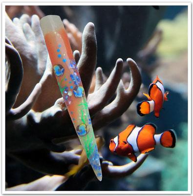 Muschelsplitter auf Ihren Nägeln erinnern an einen ausgedehnten Strandspaziergang am Meer.